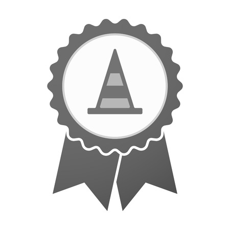 alert ribbon: Illustration of an isolated vector badge icon with a road cone