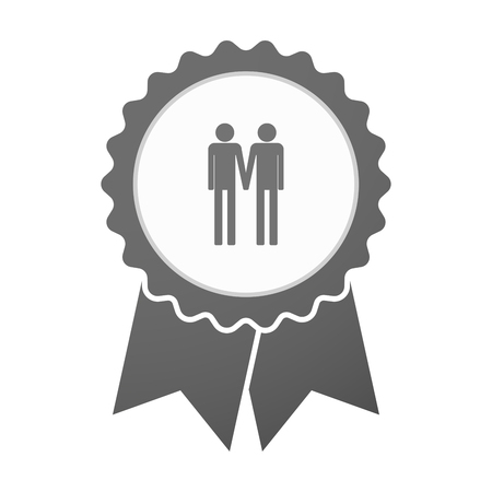 gay couple: Illustration of an isolated vector badge icon with a gay couple pictogram