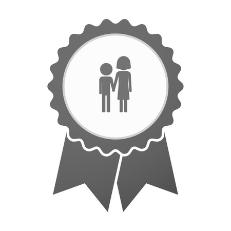 orphan: Illustration of an isolated vector badge icon with a childhood pictogram