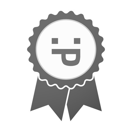 sacar la lengua: Illustration of an isolated vector badge icon with a sticking out tongue text face