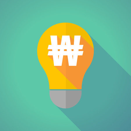won: Illustration of a long shadow vector light bulb with a won currency sign Illustration