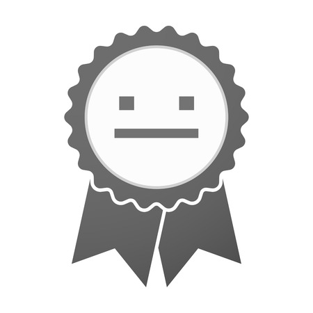 emotionless: Illustration of an isolated vector badge icon with a emotionless text face Illustration