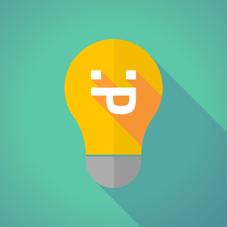 lengua larga: Illustration of a long shadow vector light bulb with a sticking out tongue text face