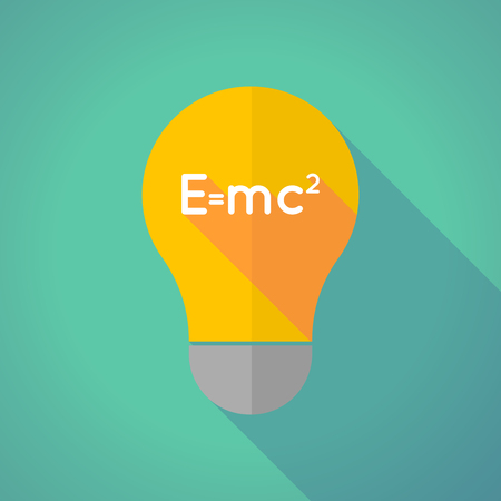 the theory of relativity: Illustration of a long shadow vector light bulb with the Theory of Relativity formula Illustration
