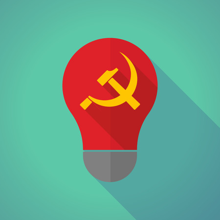 communist: Illustration of a long shadow vector light bulb with  the communist symbol