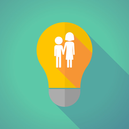 orphan: Illustration of a long shadow vector light bulb with a childhood pictogram Illustration