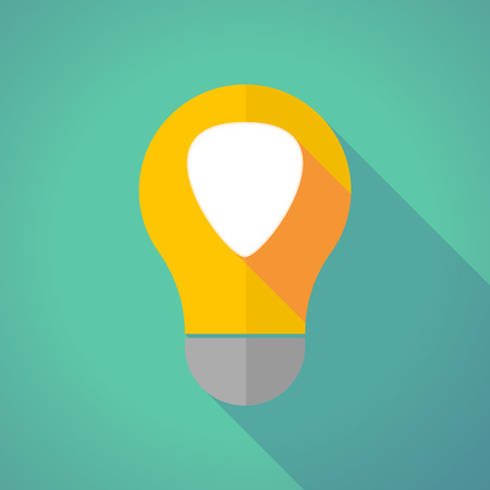 plectrum: Illustration of a long shadow vector light bulb with a plectrum