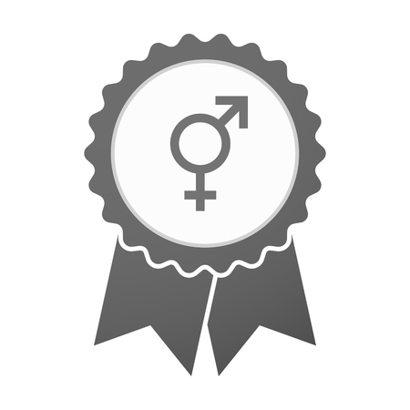 trans gender: Illustration of an isolated vector badge icon with a transgender symbol