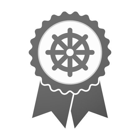 wheel of dharma: Illustration of an isolated vector badge icon with a dharma chakra sign
