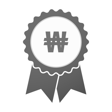 won: Illustration of an isolated vector badge icon with a won currency sign