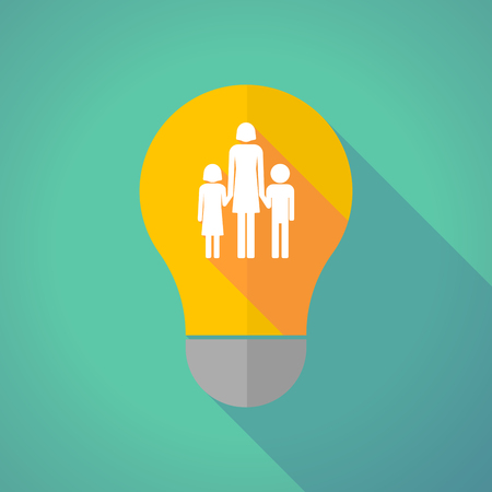 single family: Illustration of a long shadow vector light bulb with a female single parent family pictogram