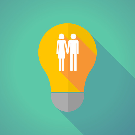 heterosexual couple: Illustration of a long shadow vector light bulb with a heterosexual couple pictogram Illustration