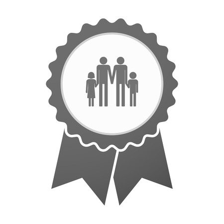 gay family: Illustration of an isolated vector badge icon with a gay parents  family pictogram
