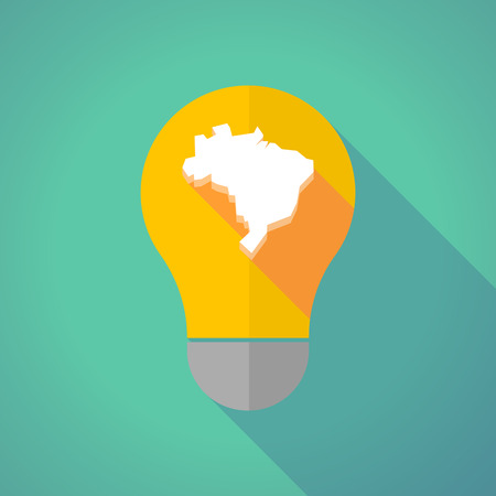 brazil country: Illustration of a long shadow vector light bulb with  a map of Brazil