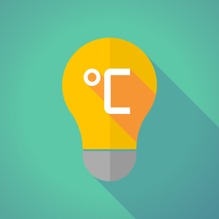 celsius: Illustration of a long shadow vector light bulb with  a celsius degree sign