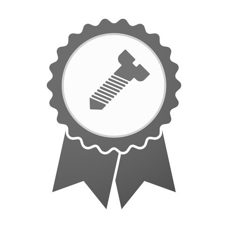 bolt head: Illustration of an isolated vector badge icon with a screw