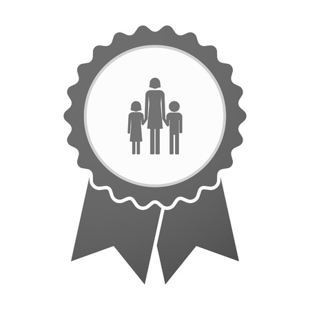 single parent family: Illustration of an isolated vector badge icon with a female single parent family pictogram