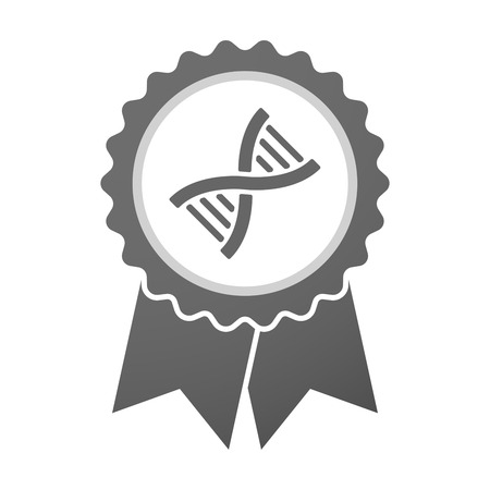 transgenic: Illustration of an isolated vector badge icon with a DNA sign Illustration