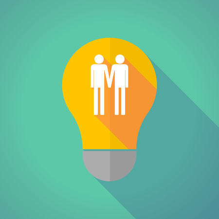 gay couple: Illustration of a long shadow vector light bulb with a gay couple pictogram Illustration