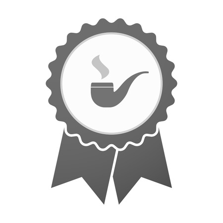 pipe smoking: Illustration of an isolated vector badge icon with a smoking pipe