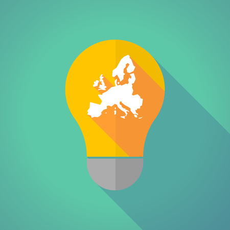 Illustration of a long shadow vector light bulb with  a map of Europe Illustration