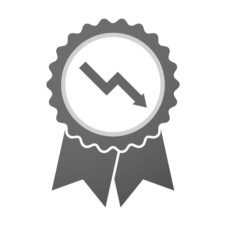 descending: Illustration of an isolated vector badge icon with a descending graph Illustration