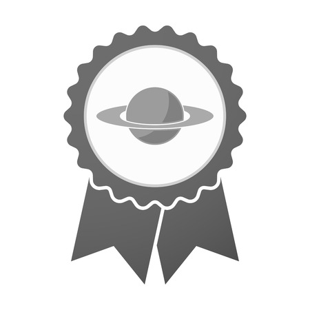 saturn rings: Illustration of an isolated vector badge icon with the planet Saturn