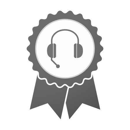 hands free phone: Illustration of an isolated vector badge icon with  a hands free phone device