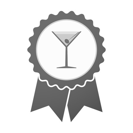 glass badge: Illustration of an isolated vector badge icon with a cocktail glass Vectores