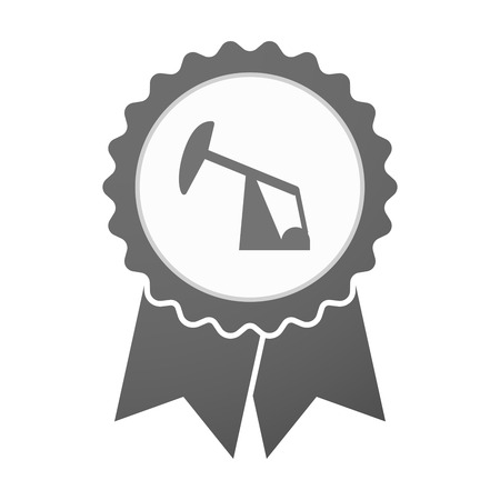 horsehead pump: Illustration of an isolated vector badge icon with a horsehead pump