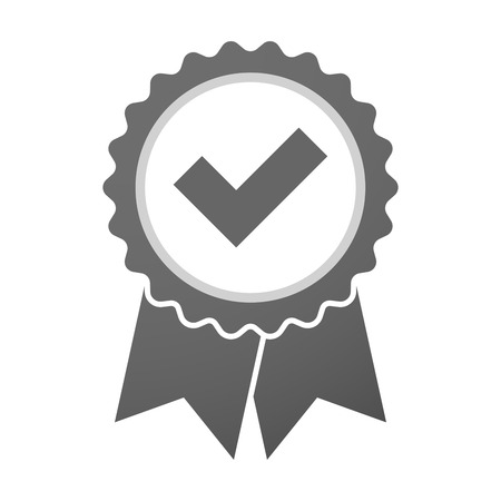 Illustration of an isolated vector badge icon with a check mark
