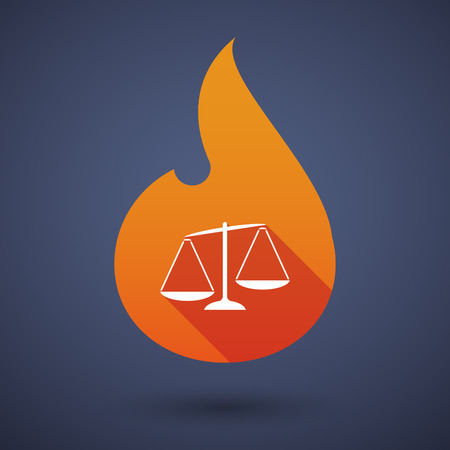 unbalanced: Illustration of a long shadow vector flame icon with  an unbalanced weight scale