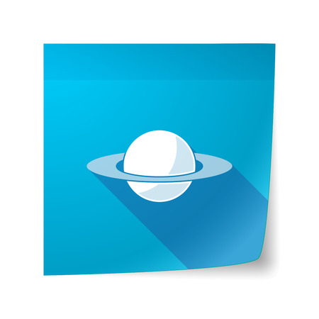 sticky note: Illustration of a long shadow vector sticky note icon with the planet Saturn