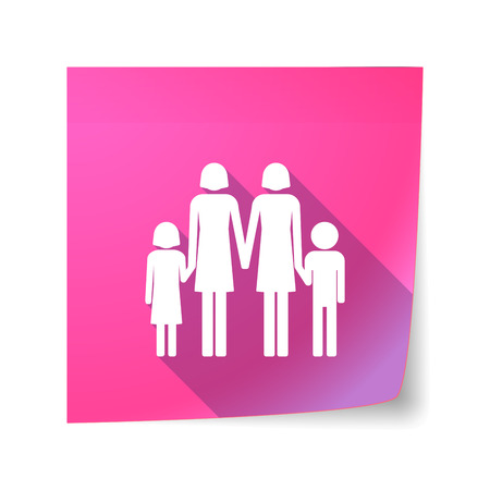 lesbian: Illustration of a long shadow vector sticky note icon with a lesbian parents family pictogram