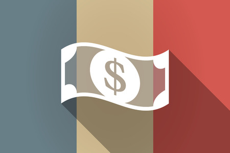 financial official: Illustration of a long shadow flag of France vector icon with a dollar bank note Illustration