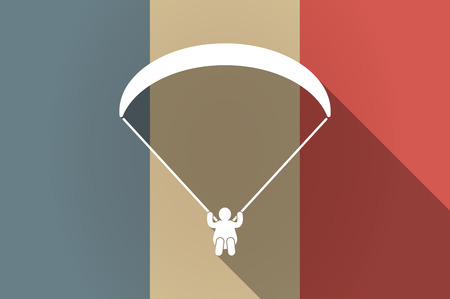 paragliding: Illustration of a long shadow flag of France vector icon with a paraglider