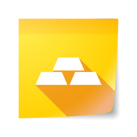 sticky note: Illustration of a long shadow vector sticky note icon with three gold bullions