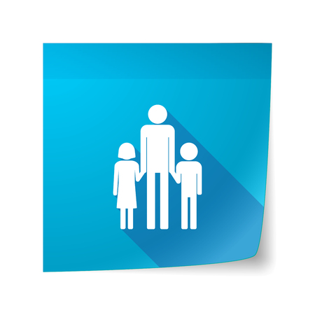 single family: Illustration of a long shadow vector sticky note icon with a male single parent family pictogram