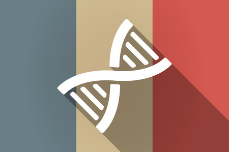 transgenic: Illistration of a long shadow flag of France vector icon with a DNA sign Illustration