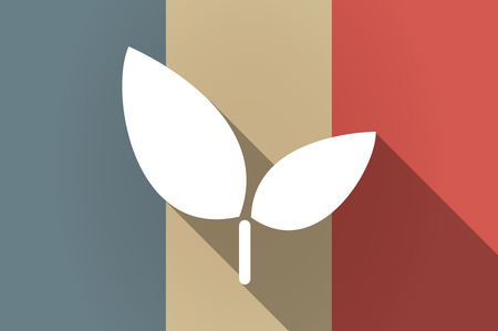 Illistration of a long shadow flag of France vector icon with a plant