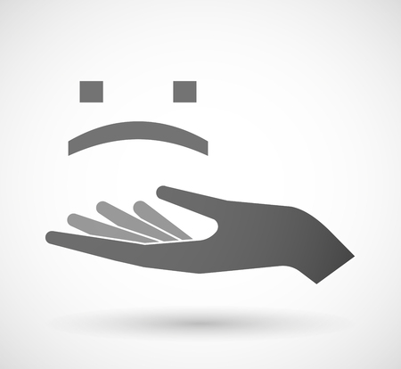open type font: Illustration of an isolated vector hand giving a sad text face Illustration