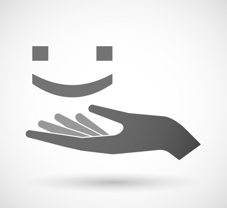 open type font: Illustration of an isolated vector hand giving a smile text face