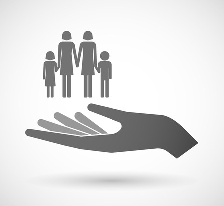 family isolated: Illustration of an isolated vector hand giving a lesbian parents family pictogram