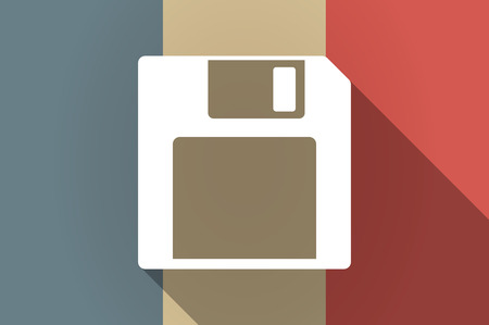floppy drive: Illustration of a long shadow flag of France vector icon with a floppy disk Illustration