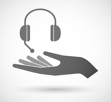 hands free device: Illustration of an isolated vector hand giving  a hands free phone device