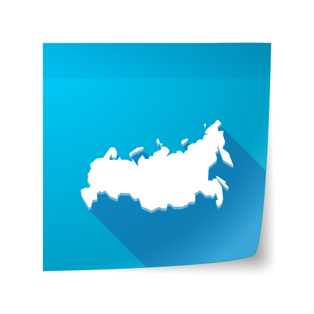 sticky note: Illustration of a long shadow vector sticky note icon with  a map of Russia