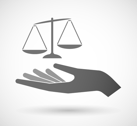 tribunal: Illustration of an isolated vector hand giving  an unbalanced weight scale Illustration