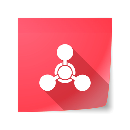 chemical weapon sign: Illustration of a long shadow vector sticky note icon with a chemical weapon sign