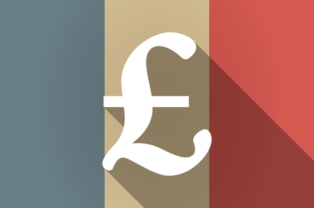 pound sign: Illustration of a long shadow flag of France vector icon with a pound sign