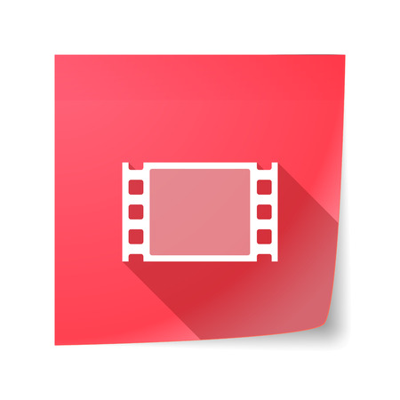 sticky note: Illustration of a long shadow vector sticky note icon with a film photogram